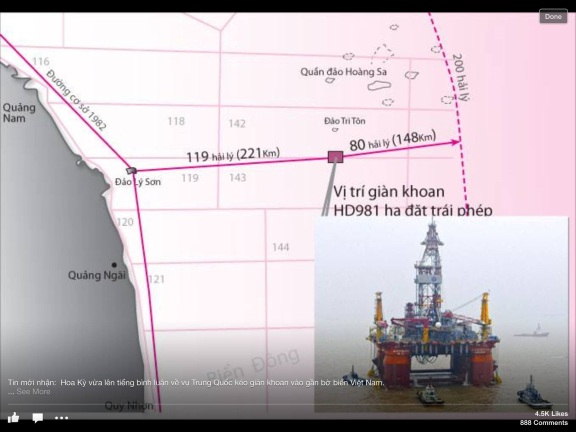 According to Vietnamese media, the Chinese oil rig is drilling 148 km inside Vietnamese territorial waters.